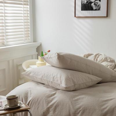 2021新款全棉32S色织精梳水洗棉极细条纹款—单枕套 48cmX74cm/对 米色极细条纹