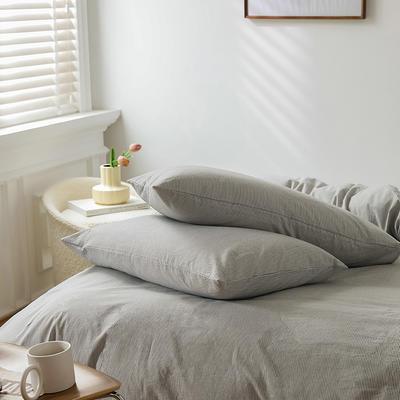 2021新款全棉32S色织精梳水洗棉极细条纹款—单枕套 48cmX74cm/对 浅灰极细条纹