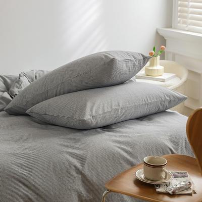 2021新款全棉32S色织精梳水洗棉极细条纹款—单枕套 48cmX74cm/对 深灰极细条纹
