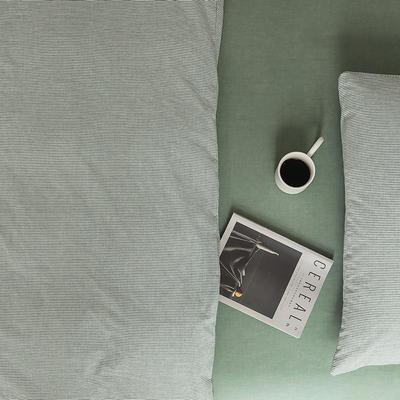 2021新款全棉32S色织精梳水洗棉极细条纹款—单床单 245*250cm 绿色极细条纹