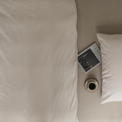 2021新款全棉32S色织精梳水洗棉极细条纹款—单床单 245*250cm 米色极细条纹