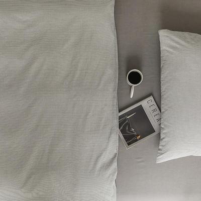 2021新款全棉32S色织精梳水洗棉极细条纹款—单床单 245*250cm 浅灰极细条纹
