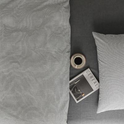 2021新款全棉32S色织精梳水洗棉极细条纹款—单床单 245*250cm 深灰极细条纹
