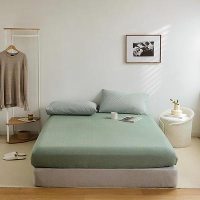 2021新款全棉32S色织精梳水洗棉极细条纹款—单床笠 150*200cm 绿色极细条纹