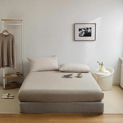 2021新款全棉32S色织精梳水洗棉极细条纹款—单床笠 150*200cm 米色极细条纹