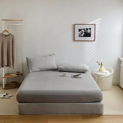 2021新款全棉32S色织精梳水洗棉极细条纹款—单床笠 150*200cm 浅灰极细条纹