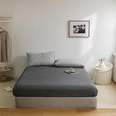 2021新款全棉32S色织精梳水洗棉极细条纹款—单床笠 150*200cm 深灰极细条纹