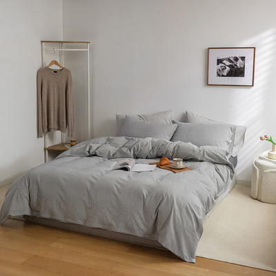 2021新款全棉32S色织精梳水洗棉极细条纹款—单被套 200*230cm 深灰极细条纹