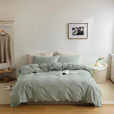 2021新款全棉32S色织精梳水洗棉极细条纹款—四件套 1.5m床单款四件套 绿色极细条纹