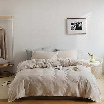 2021新款全棉32S色织精梳水洗棉极细条纹款—四件套 1.5m床单款四件套 米色极细条纹