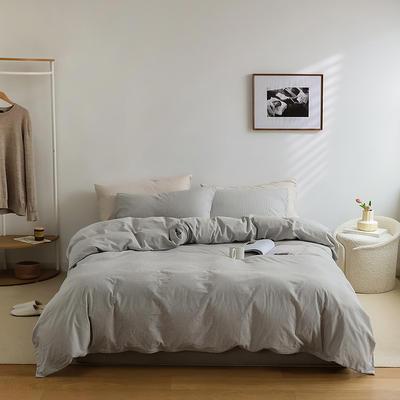 2021新款全棉32S色织精梳水洗棉极细条纹款—四件套 1.5m床单款四件套 浅灰极细条纹