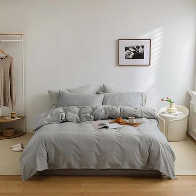 2021新款全棉32S色织精梳水洗棉极细条纹款—四件套 1.5m床单款四件套 深灰极细条纹