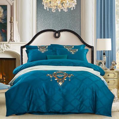 60S欧式提花刺绣全棉四件套 200*230 安吉拉-深海蓝