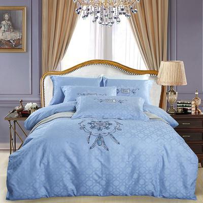 60S欧式提花刺绣全棉四件套 200*230 伯尼尔-白日蓝