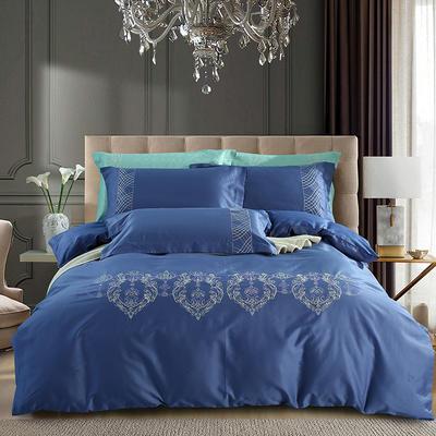 60S欧式提花刺绣全棉四件套 200*230 宝格丽-月光蓝