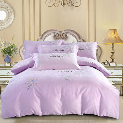60S欧式提花刺绣全棉四件套 200*230 素馨-浅紫