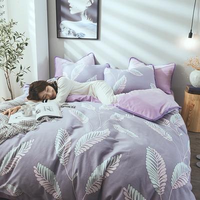 2019新款保暖魔暖绒(全棉磨毛+水晶绒)单品被套款 160x210cm 枝繁叶茂-紫