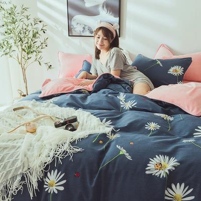 2019新款保暖魔暖绒(全棉磨毛+水晶绒)床单款 1.8m床笠 雏菊