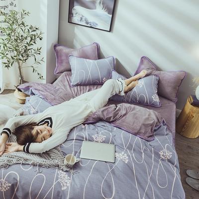 2019新款保暖魔暖绒(全棉磨毛+水晶绒)床单款 1.8m床笠 富贵花开