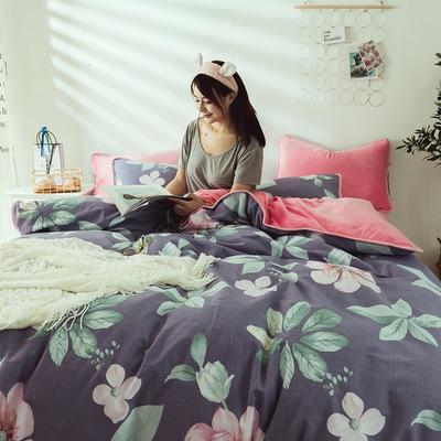 2019新款保暖魔暖绒(全棉磨毛+水晶绒)床单款 1.8m床笠 静谧花香-紫