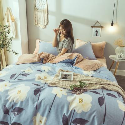 2019新款保暖魔暖绒(全棉磨毛+水晶绒)床单款 1.8m床笠 飘影
