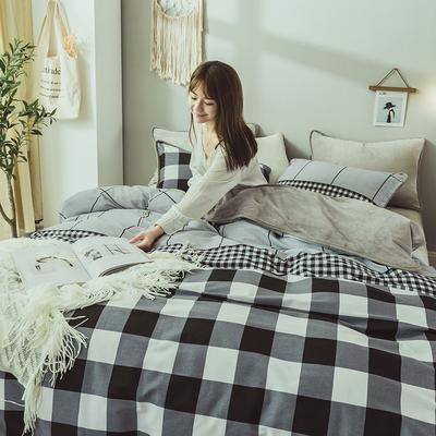 2019新款保暖魔暖绒(全棉磨毛+水晶绒)床单款 1.8m床笠 绅士格调