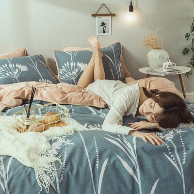 2019新款保暖魔暖绒(全棉磨毛+水晶绒)床单款 1.8m床笠 婷婷怡人-蓝