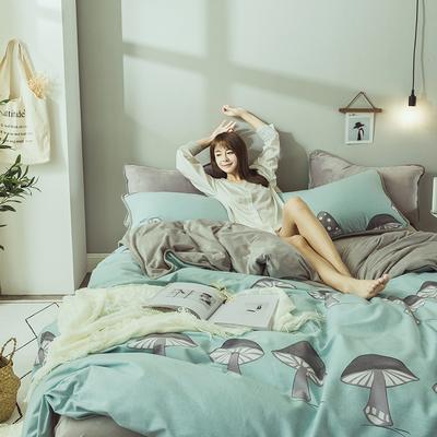 2019新款保暖魔暖绒(全棉磨毛+水晶绒)床单款 1.8m床笠 小蘑菇-绿