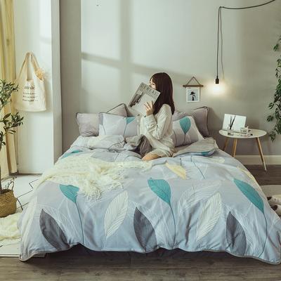 2019新款保暖魔暖绒(全棉磨毛+水晶绒)床单款 1.8m床笠 叶韵-灰