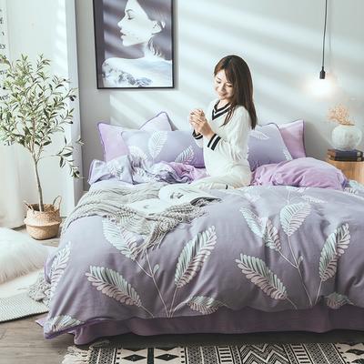 2019新款保暖魔暖绒(全棉磨毛+水晶绒)床单款 1.8m床笠 枝繁叶茂-紫