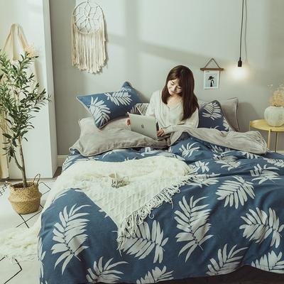 2019新款保暖魔暖绒(全棉磨毛+水晶绒)床单款 1.8m床笠 枝韵尔雅-蓝