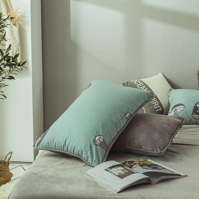 2019新款保暖魔暖绒(全棉磨毛+水晶绒)枕套一对 48*74*2 小蘑菇-绿