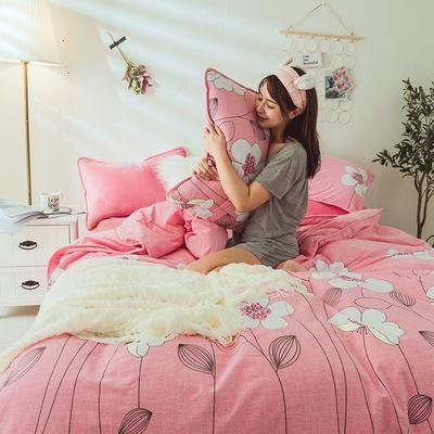 2019新款保暖魔暖绒(全棉磨毛+水晶绒) 1.2m(4英尺)床 花田物语-粉