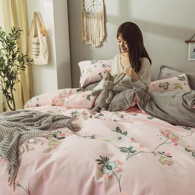 2019新款保暖魔暖绒(全棉磨毛+水晶绒) 1.2m(4英尺)床 莫拉-粉
