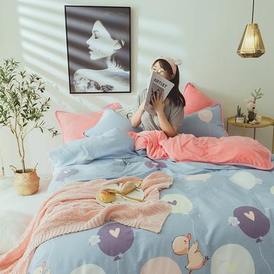 2019新款保暖魔暖绒(全棉磨毛+水晶绒) 1.2m(4英尺)床 小黄鸭-兰