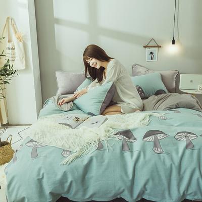 2019新款保暖魔暖绒(全棉磨毛+水晶绒) 1.2m(4英尺)床 小蘑菇-绿