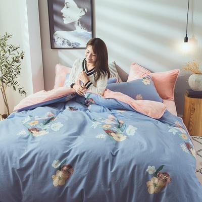 2019新款保暖魔暖绒(全棉磨毛+水晶绒) 1.2m(4英尺)床 争姿斗艳-蓝