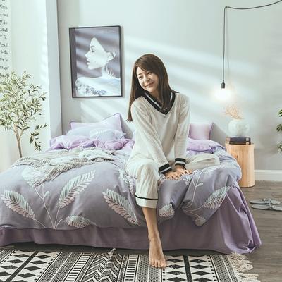 2019新款保暖魔暖绒(全棉磨毛+水晶绒) 1.2m(4英尺)床 枝繁叶茂-紫