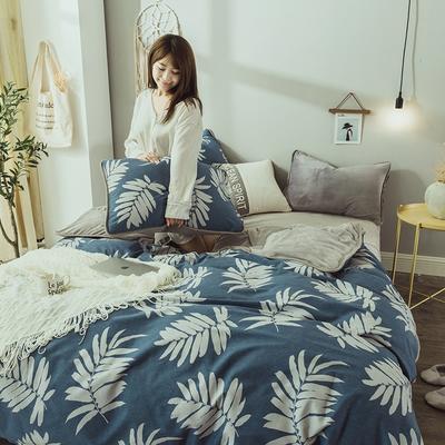 2019新款保暖魔暖绒(全棉磨毛+水晶绒) 1.2m(4英尺)床 枝韵尔雅-蓝