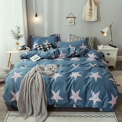 2019新款纯棉生态磨毛四件套 1.8m床单款四件套 永恒星光-蓝