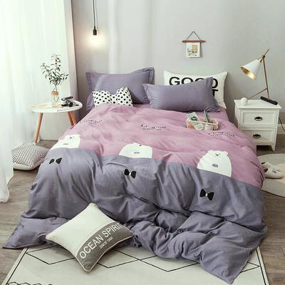 2019新款全棉生态磨毛单被套款 160x210cm 北极熊-紫