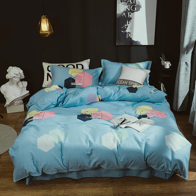 2019新款40S全棉活性生态磨毛单品被套款 160x210cm 幸运符号-蓝