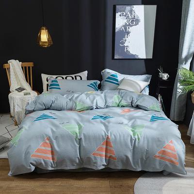 2019新款40S全棉活性生态磨毛单品床笠款 1.8m 时尚几何-灰