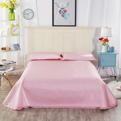 2019新款纯色花边凉席纯色花边床单款冰丝凉席 230*250cm 本色生活-粉
