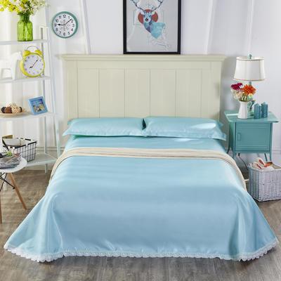 2019新款纯色花边凉席纯色花边床单款冰丝凉席 230*250cm 本色生活-湖蓝