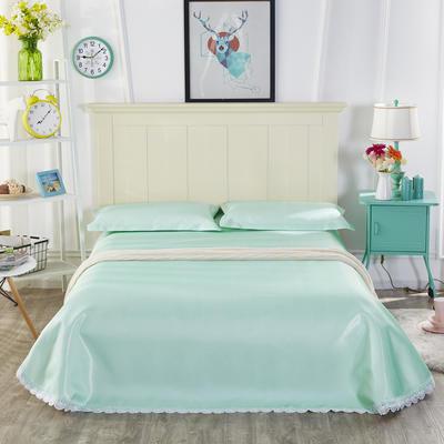 2019新款纯色花边凉席纯色花边床单款冰丝凉席 230*250cm 本色生活-绿