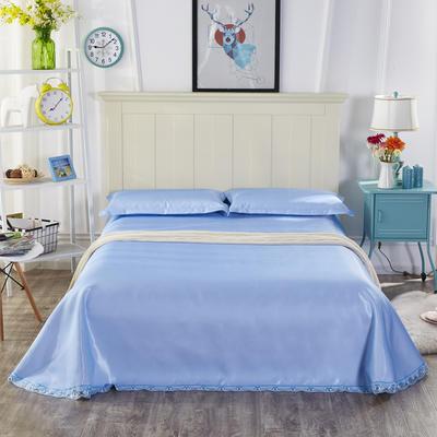 2019新款纯色花边凉席纯色花边床单款冰丝凉席 230*250cm 本色生活-天蓝