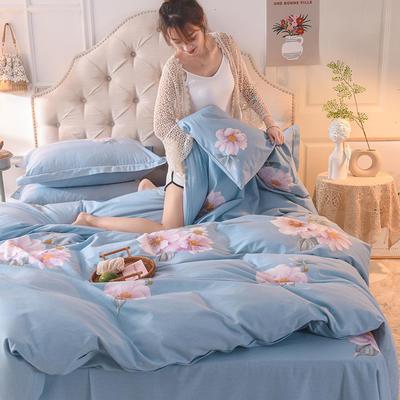 2019新款纯棉生态磨毛四件套 1.5m床单款四件套 花未央-蓝