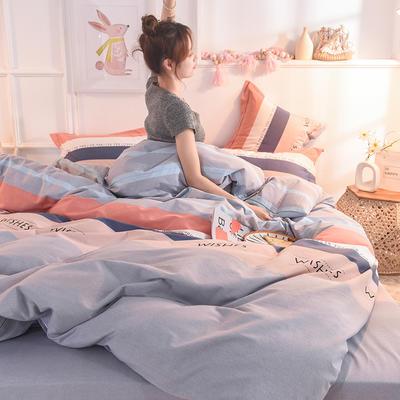 2019新款纯棉生态磨毛四件套 1.35m床单款三件套 罗拉