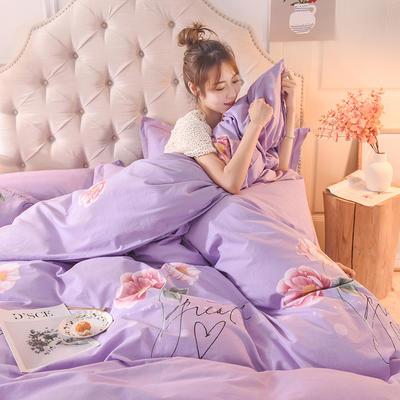 2019新款纯棉生态磨毛四件套 1.5m床单款四件套 梦醉花轩=紫